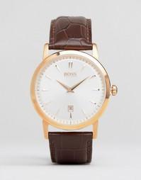 Часы с коричневым кожаным ремешком и круглым циферблатом Hugo Boss
