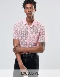 Кружевная рубашка классического кроя Reclaimed Vintage - Розовый
