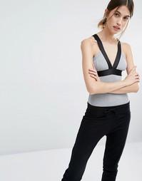 Боди в рубчик с контрастной отделкой Vero Moda - Серый меланж