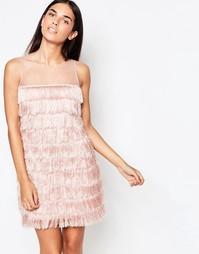 Цельнокройное платье с бахромой Rare - Blush