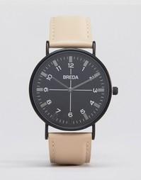 Часы с бежевым кожаным ремешком и черным циферблатом Breda Belmont