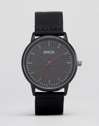 Черные часы с кожаным ремешком Breda Valor - Черный