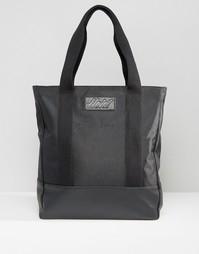 Нейлоновая сумка-тоут с отделкой в кожаном стиле Heist - Черный