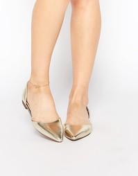 Туфли из двух частей на плоской подошве London Rebel - Золотой