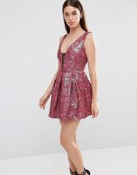 Жаккардовое платье для выпускного Lashes Of London Tilly - Burgandy