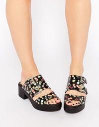 Кожаные сабо на каблуке Miista Kloe - Black fruit