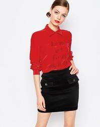 Рубашка из шелковой смеси Love Moschino Love At First Sight - Красный