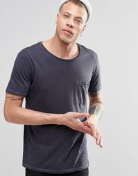 Темно-синяя футболка с карманом Nudie - Темно-синий
