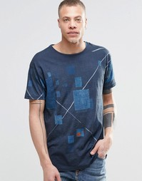 Свободная темно-синяя футболка Nudie Furushiki - Темно-синий