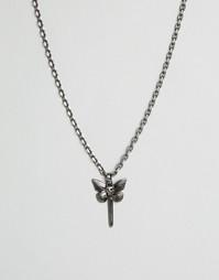 Ожерелье с подвеской в виде бабочки и черепа Simon Carter - Серебряный