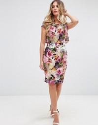 Платье-футляр с короткими рукавами и цветочным принтом Jessica Wright