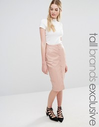 Юбка миди на пуговицах Fashion Union Tall - Blush