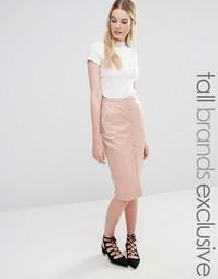 Юбка миди на пуговицах Fashion Union Tall - Blush