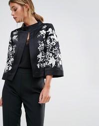 Куртка с широким воротником и вышивкой Ted Baker Abhy - Черный