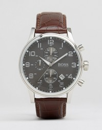 Часы с коричневым кожаным ремешком Hugo Boss Aeroliner - Коричневый
