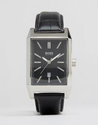 Черные часы с кожаным ремешком и квадратным циферблатом Hugo Boss