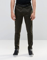 ASOS Super Skinny Smart Trousers With Side Panel - Хаки