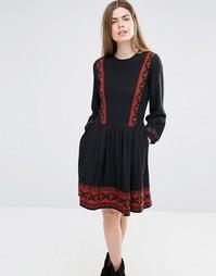 Свободное платье с отделкой вышивкой Vanessa Bruno Athe - Черный