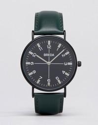 Часы с зеленым ремешком и черным циферблатом Breda Belmont - Зеленый