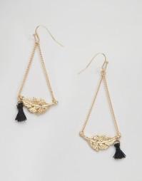 Серьги-подвески с листьями Nylon - Золотой