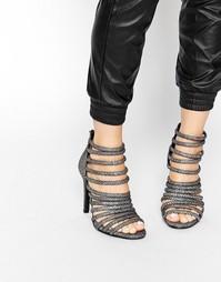 Сандалии металлик на каблуке с ремешками Pieces - Черная фольга