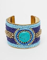 Браслет-манжет с бисером и синим камнем Raga - Синий