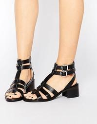 Кожаные сандалии-гладиаторы на каблуке Park Lane - Черная кожа