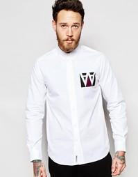 Рубашка с принтом букв AA в квадрате Wood Wood - Белый