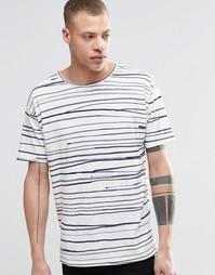 Свободная футболка с принтом в полоску Nudie
