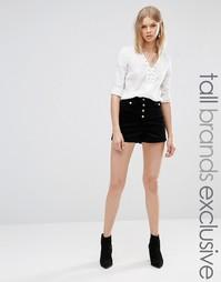 Вельветовые шорты с завышенной талией Glamorous Tall - Черный