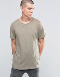 Oversize-футболка из меланжевого полотна Selected Homme - Ветивер
