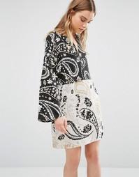 Платье-туника с принтом пейсли BCBG Max Azria - Черный