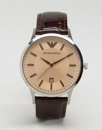 Коричневые часы с кожаным ремешком Emporio Armani AR2427 - Коричневый