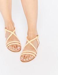 Телесные кожаные сандалии с ремешками Miista Jo - Оранжевый