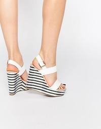 Туфли на танкетке с ремешками Miss KG Panda - White synthetic