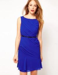 Синее платье с поясом Coast - Синий