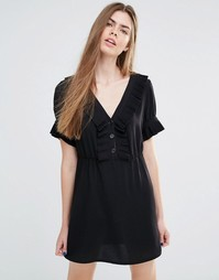 Платье с оборками и пуговицами Vanessa Bruno Athe - Черный