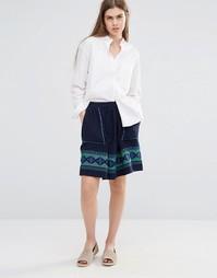 Короткая расклешенная юбка с вышивкой и карманами Vanessa Bruno Athe