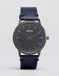Часы с темно-синим кожаным ремешком и черным циферблатом Breda Zapf