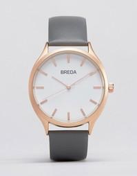 Часы с серым кожаным ремешком и золотистым циферблатом Breda Meter
