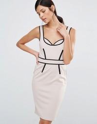 Платье-футляр с контрастной отделкой Little Mistress - Телесный