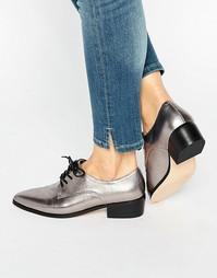 Кожаные туфли цвета серебристый металлик на плоской подошве Dune Loris