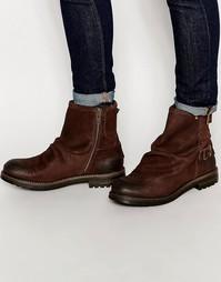 Кожаные ботинки с пряжками Base London Bullit - Коричневый