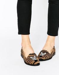 Замшевые туфли-слиперы с принтом под зебру Park Lane