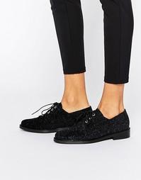 Туфли на плоской подошве и шнуровке Miista Adelaide - Синий металлик