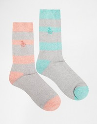 2 пары толстых носков в полоску из крученой нити Penguin