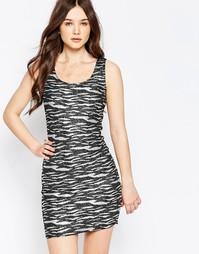 Платье с принтом зебра цвета металлик Jasmine - Черный