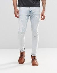 Светлые потертые джинсы скинни Nudie Skinny Lin - Pale temptation