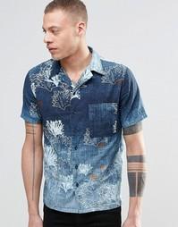 Рубашка с короткими рукавами и принтом Nudie Brandon - Синий