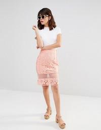 Кружевная юбка с прозрачными вставками J.O.A - Peach